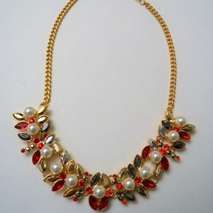 MIKA Red Jewel & Pearl Necklace
